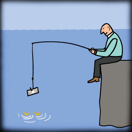 Businessman fishing with money bait