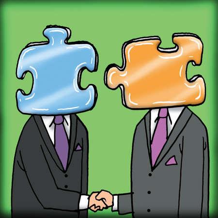 Businessmen with jigsaw heads handshaking