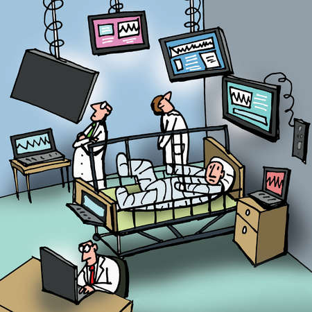 Doctors and computer monitors surrounding man in hospital bed