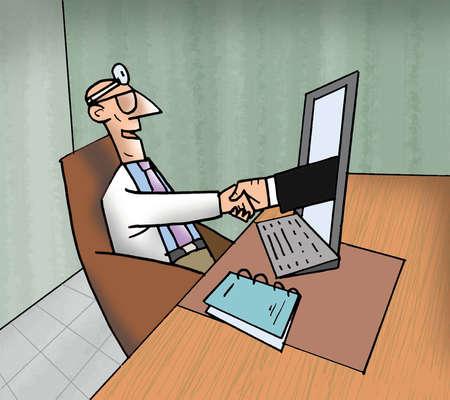 Businessman extending handshake to doctor through computer monitor