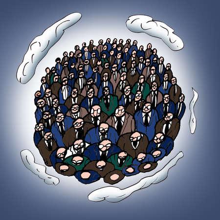 Businessmen forming globe