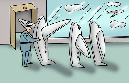 Security guard examining anthropomorphic airplanes at airport