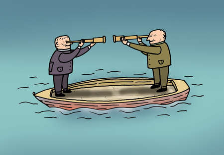 Businessmen with telescopes standing face to face on boat