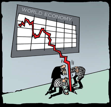 Businessmen watching line from World Economy chart fall through the floor