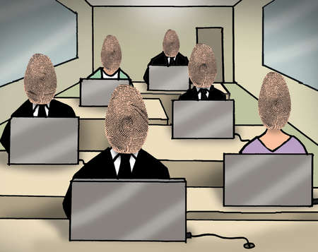 Business people with fingerprint heads at computers in classroom