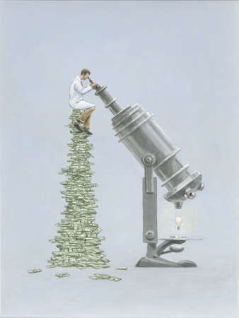 Scientist sitting On Top  of Pile of Money Looking into Microscope