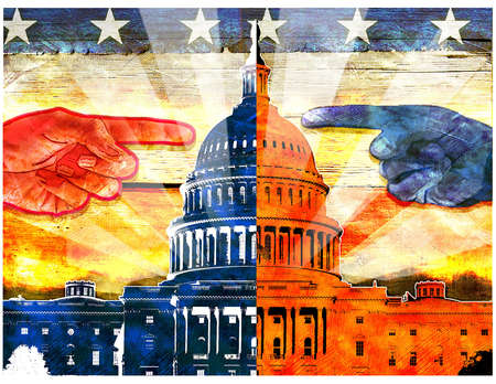 Red hand and Blue hand Pointing at the Capitol and Each Other