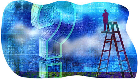 Man on Ladder Looking at Stock tables with a Question mark