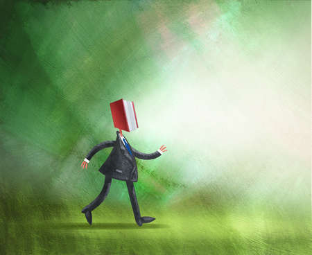 Man with book as a head walking forward