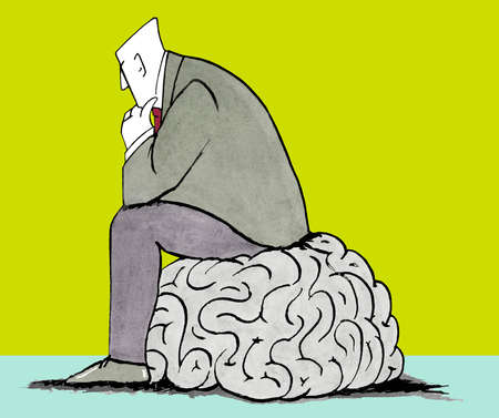Businessman sitting on brain