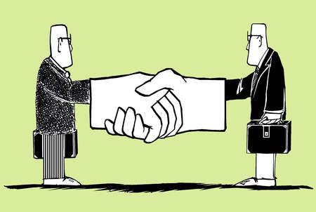 Businessmen with large gloves handshaking