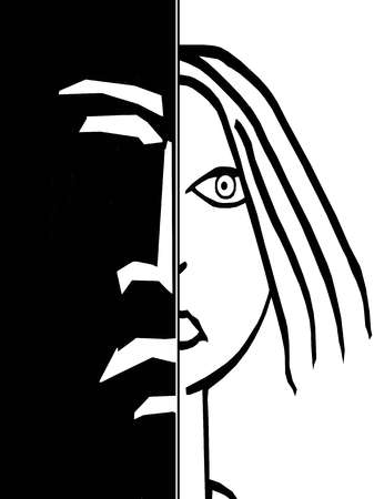 Split screen of frowning face and woman's face