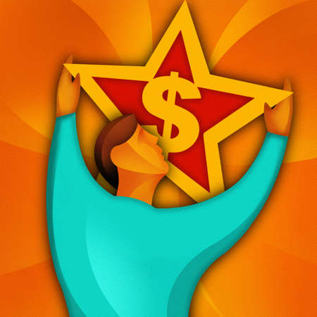 Man Holding up Star With Dollar Sign