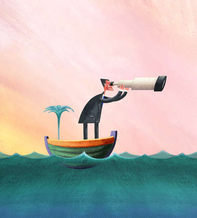 Man In A Sinking Ship Looking Through Telescope