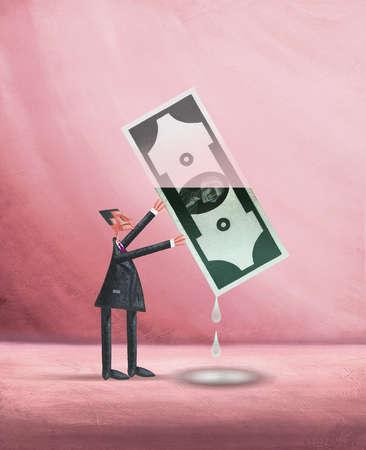 Man Holding Up Leaking Money