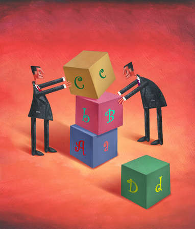 Two Men Stacking Building Blocks