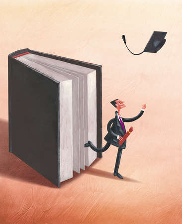 Man with Diploma Exiting an Open Book, Throwing Mortarboard Into The Air