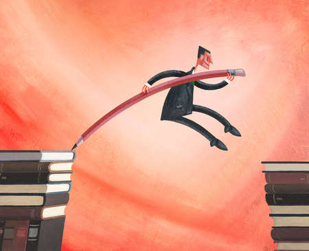 Man Pole Vaulting Over Books With Pencil