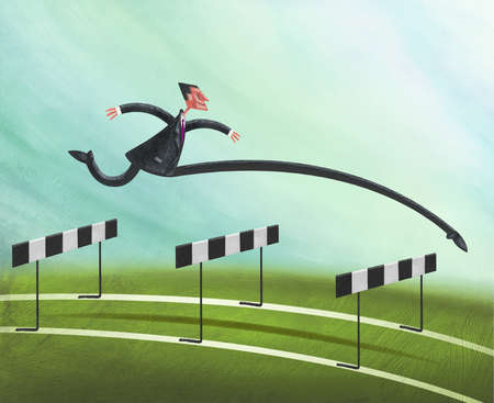 Businessman Jumping Over Three Hurdles with Front Leg Stretched Out