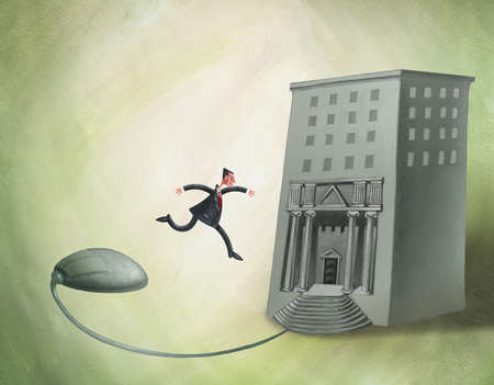 Man Jumping Off Mouse Into Building