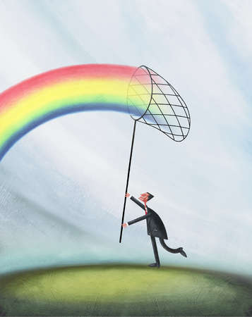 Man Catching Rainbow With Net