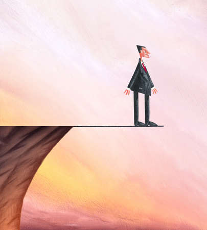 Man on Cliff Standing On Arrow