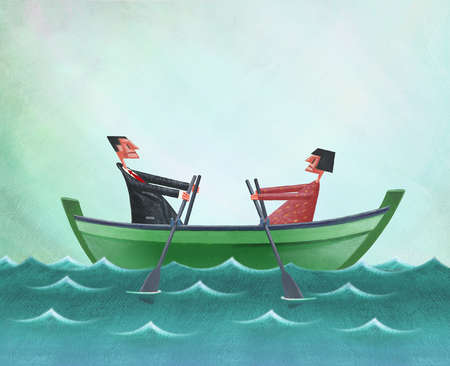 Man and Woman in Rowboat Rowing in Different Directions