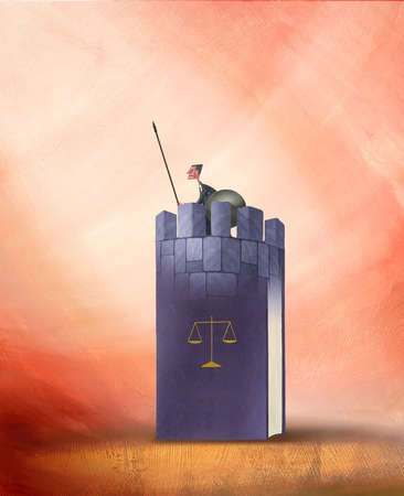 Lawyer Holding a Spear in Tower Made of Books with Symbol of Scales