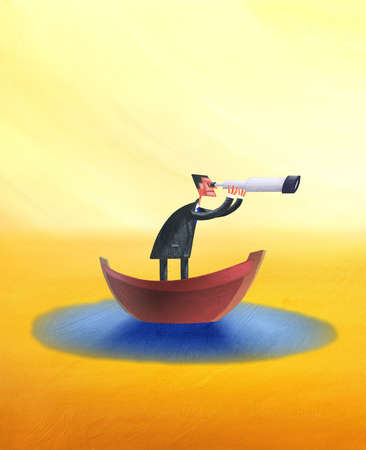 Man in Boat With Telescope