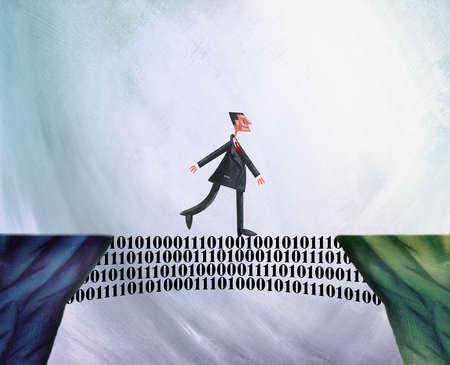 Man Walking Across Bridge Built Of Binary Code