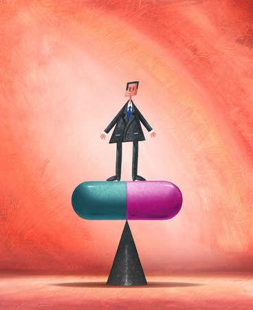Man Balancing on Pill