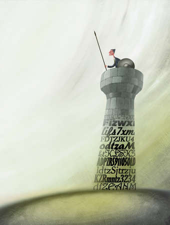 Businessman with Spear in Tower Built on Data