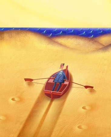 Businessman in desert in a row boat heading toward water