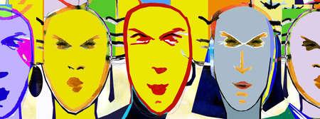 Multicolor faces in a row