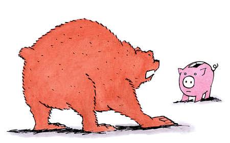 Bear growling at piggy bank