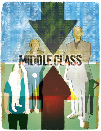 Montage of Stock Tables, Up and Down Arrows, Group of People and The Words Middle Class