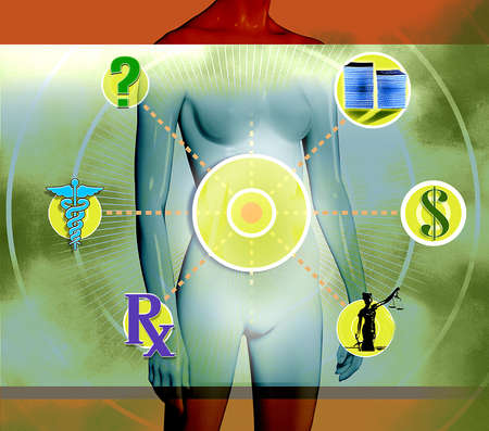 Representation of Female Body surrounded by Dollar sign,justice,RX,Caduceus,Question Mark and Stack of Money