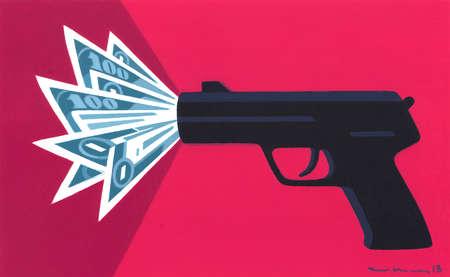 Gun Discharging Money Instead of Bullets