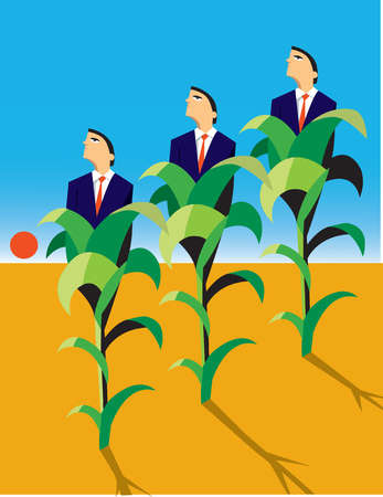 Businessmen growing from corn stocks