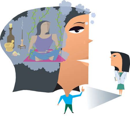 Woman meditating inside head