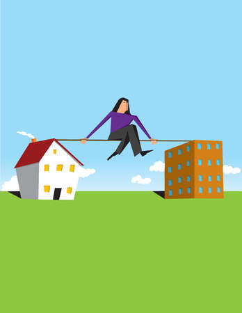 Woman sitting on tightrope between house and office building