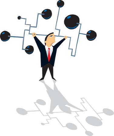 Businessman lifting connected barbells