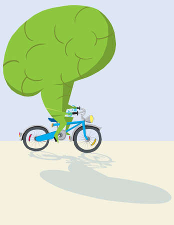 Large green brain riding bicycle