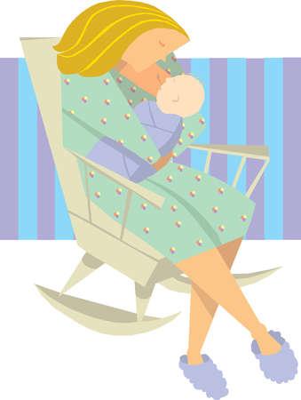 Woman breast feeding son in rocking chair