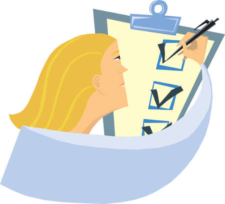 Woman checking box on clipboard