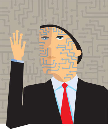 Circuit board lines covering businessman?s face