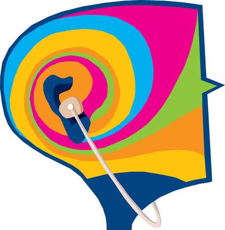 Headphones over ears of psychedelic head
