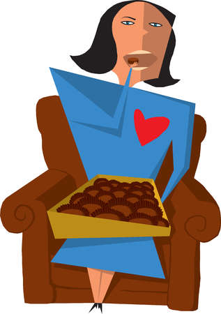 Woman eating from box of chocolates