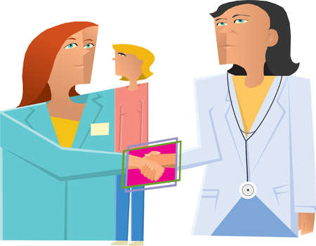 Doctor and businesswoman shaking hands