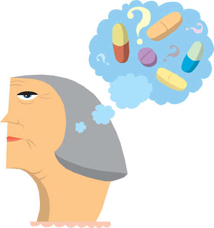 Pills and capsules in thought bubble above aging woman